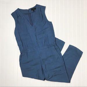 J Crew Drapey Oxford Blue V Neck Jumpsuit Sz 10